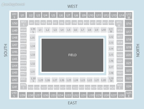 Seating Plan at Twickenham Stadium