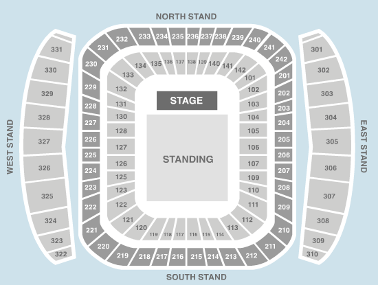 standing Seating Plan at Etihad Stadium Manchester