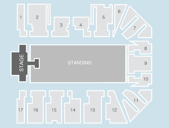 standing Seating Plan at Genting Arena