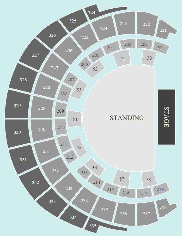 standing Seating Plan at Hydro