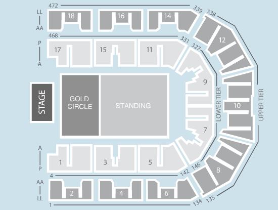 gold circle Seating Plan at Liverpool Echo Arena
