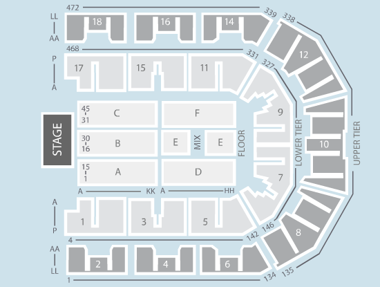 seated Seating Plan at Liverpool Echo Arena
