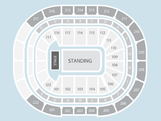 standing Seating Plan at Manchester Arena