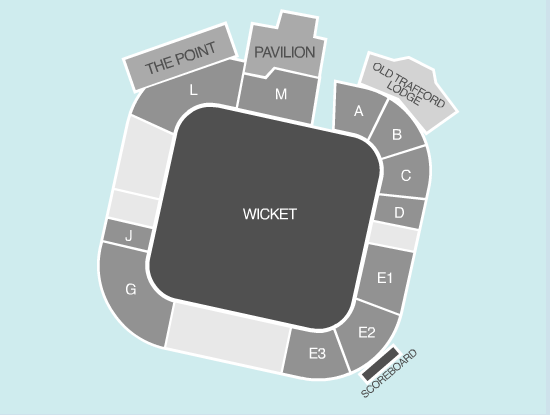 cricket Seating Plan at Old Trafford Cricket Ground