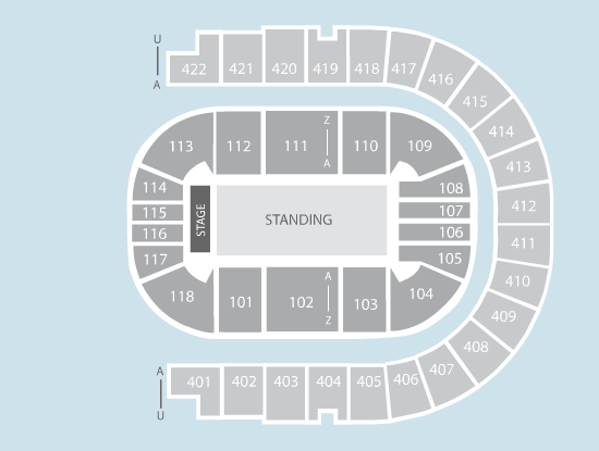 standing Seating Plan at The O2 Arena