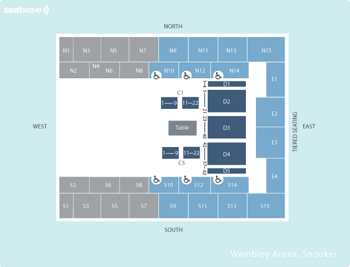 snooker Seating Plan at SSE Arena Wembley
