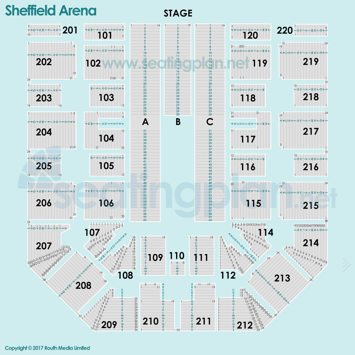 Flydsa Arena Sheffield Arena Detailed Seating Plan